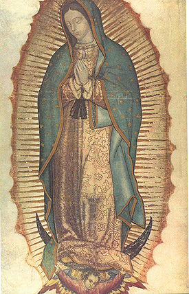 Click to see larger photograph of Our Lady of Guadalupe on tilma